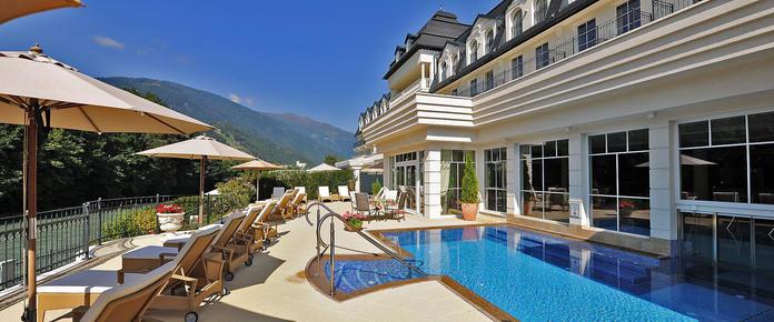 Terrace and pool of Grandhotel Lienz in Austria