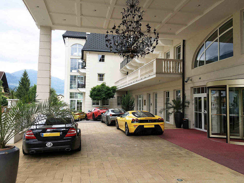 Nice cars parked at Grandhotel Lienz in Austria