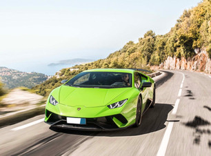 Lamborghini Huracan driving on coastal road at the French Riviera
