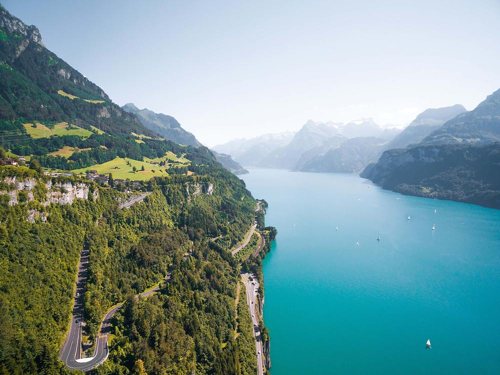 Lake Lucerne bird-eye view