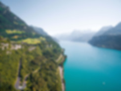 scenic roads at the shores of Lake Lucerne in the Swiss Alps