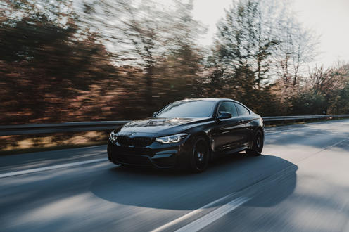 BMW driving the autobahn in Germany