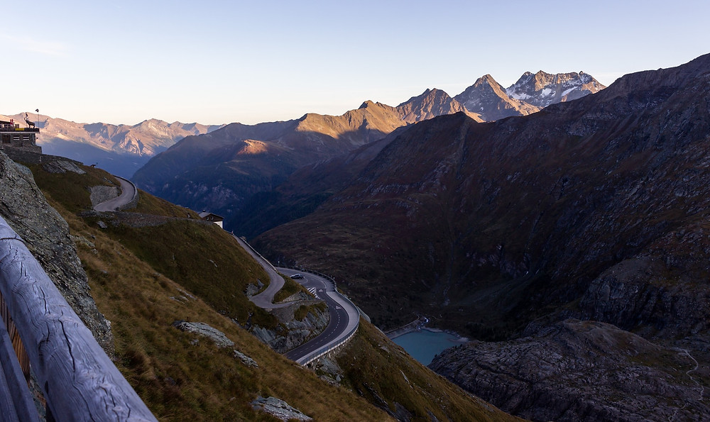 Serpentines and Lake on Grossglockner Mountain Pass