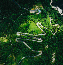 Birdeye view Vrsic Pass in Slovenia