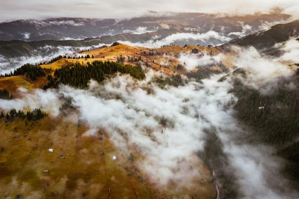 Carpathians Mountains Romania, low clouds
