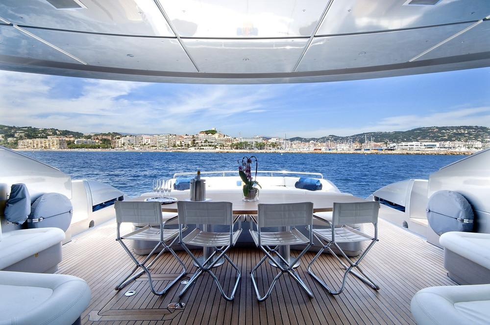 sundeck table on yacht