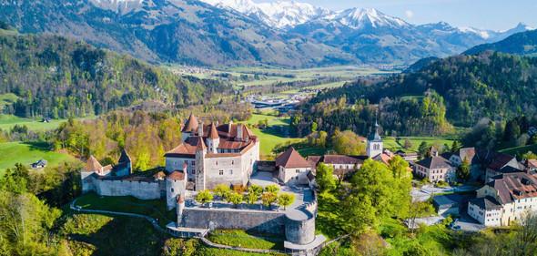Gruyeres Castle in Switzerland Aerial view