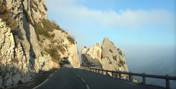 Rocks on roadside of Route Napoleon in France