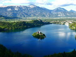 Island inside Lake Bled with church