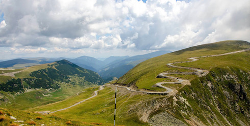 Serpentines of Transalpina Road in Romania