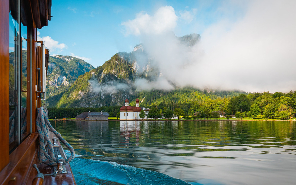 Lake Koenigssee in Bavaria from boat