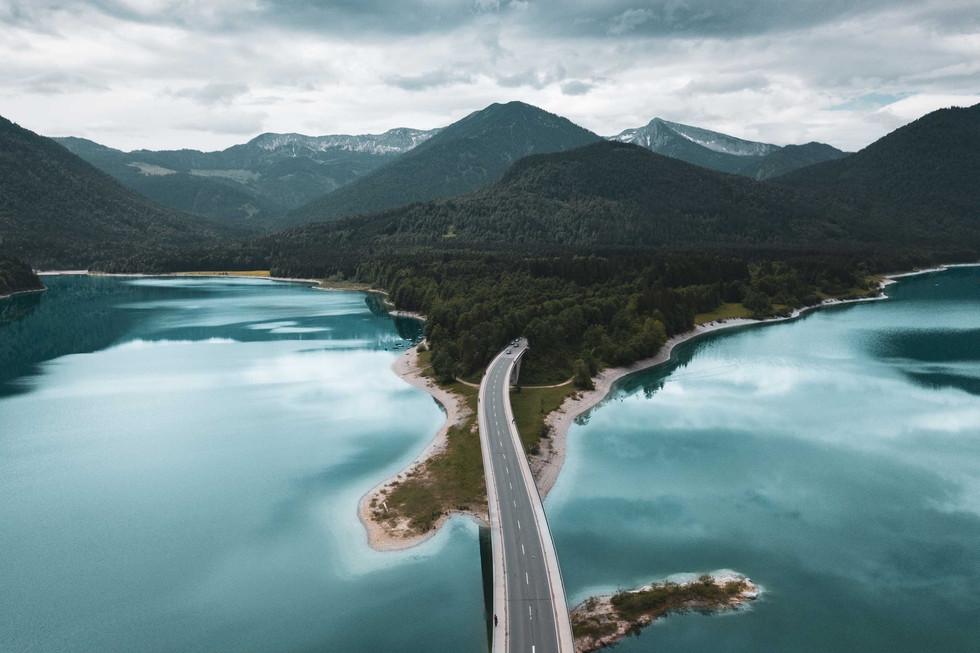 Bridge over Sylvenstein Dam in Bavaria