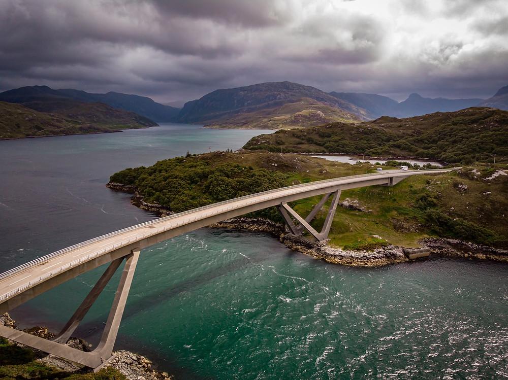 Kylesku Bridge in Scotland bird-eye view