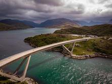 Kylesku Bridge on the NC500 in Scotland bird eye view