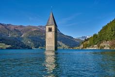 Bell tower inside Lake Reschensee