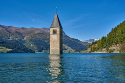 Bell tower inside Lake Reschensee