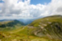 Panorama of Carpathians mountains and fa