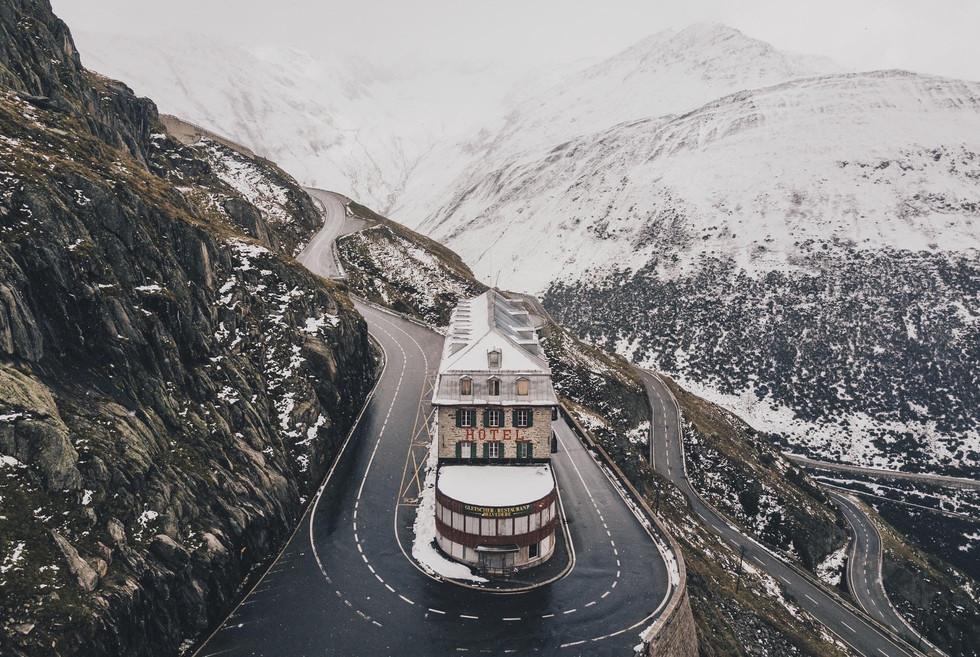 Hotel Belvedere on Furka Pass during late autumn