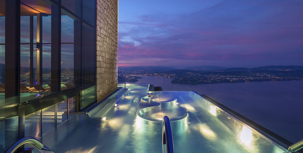 Infinity Pool of Bürgenstock Resort overlooking the edge to Lake Lucerne