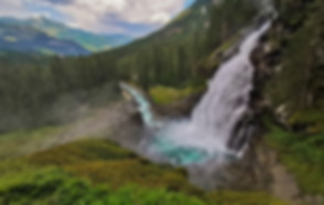Water plunging from Krimml Waterfalls in Austria