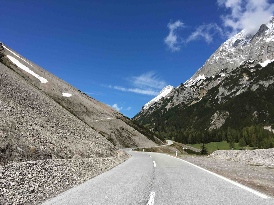 Curves of the beautiful Hahntennjoch Pass in the Austrian Tyrol