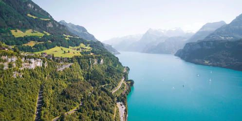 Lake Lucerne shores with scenic roads