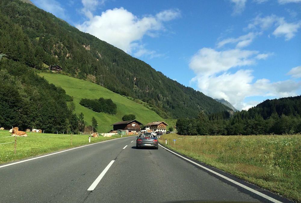 BMW Roadster on Felbtauernstrasse in Austria