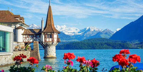Oberhofen Castle at Lake Thun in the Swiss Alps