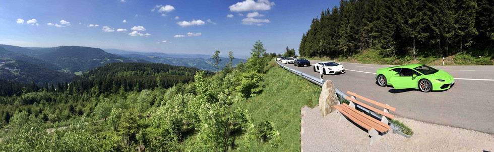 Supercars on scenic B500 Route in the German Black Forest