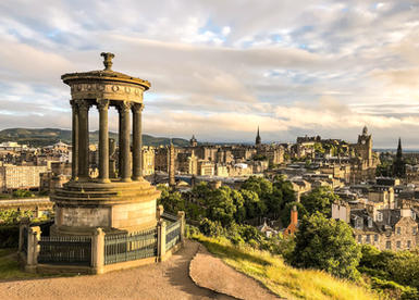 Edinburgh from view-point above the city in the early monring