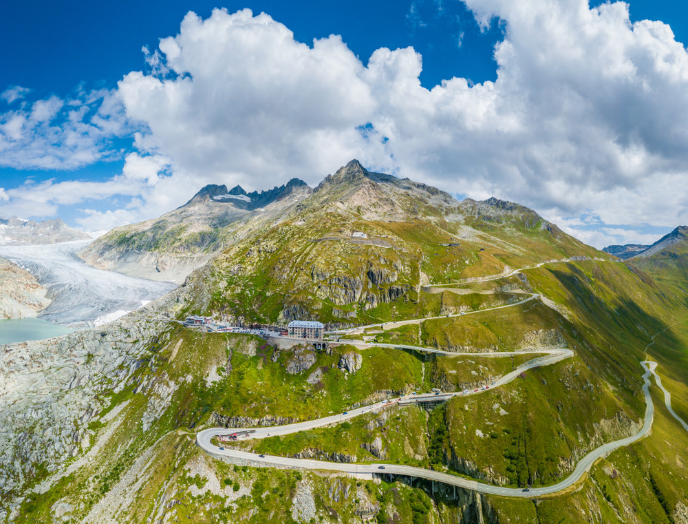 zick zack route of Furka Pass with Rhone Glacier and Hotel Belvedere