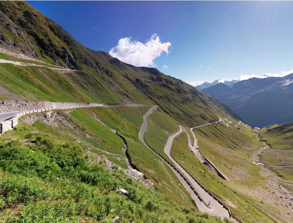 Narrow lane of Stelvio Pass in Italy