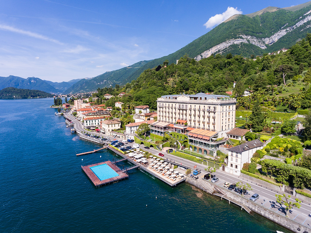 Grandhotel Tremezzo bird-eye view with Lake Como