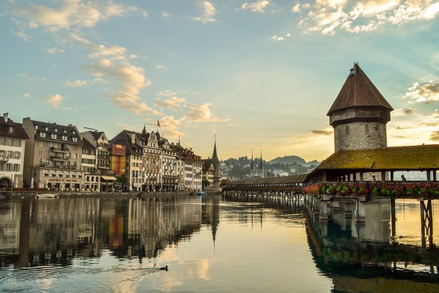 wooden chapel bridge in Lucerne during early evening