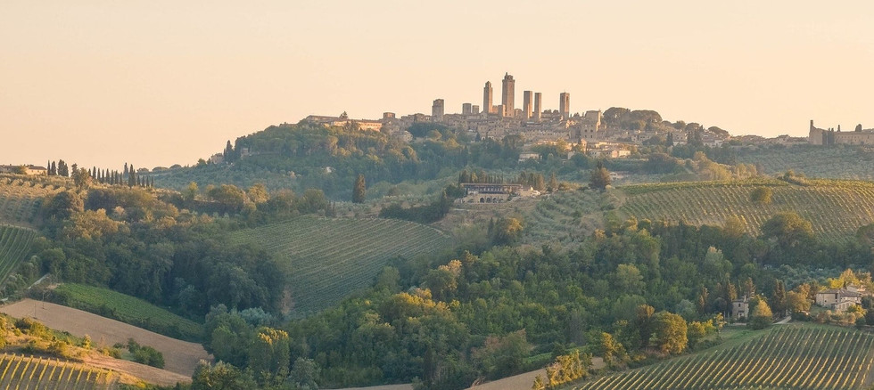Skyline of San Gimignano towers in Tuscany from dstance