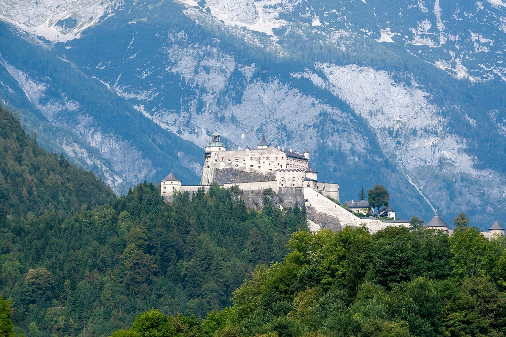 Hohenwerfen Castle in Austria from a distance