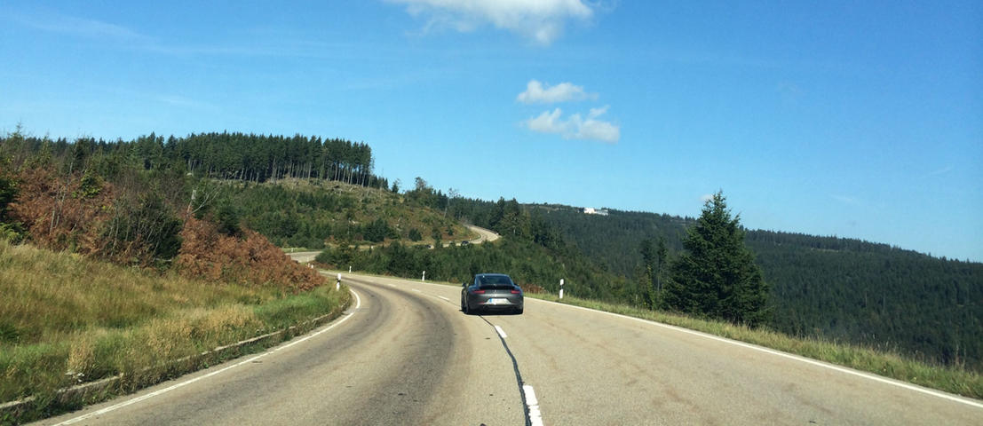 Porsche driving the scenic B500 in Germany