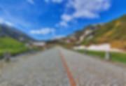 Cobble stone on high alpine mountain road