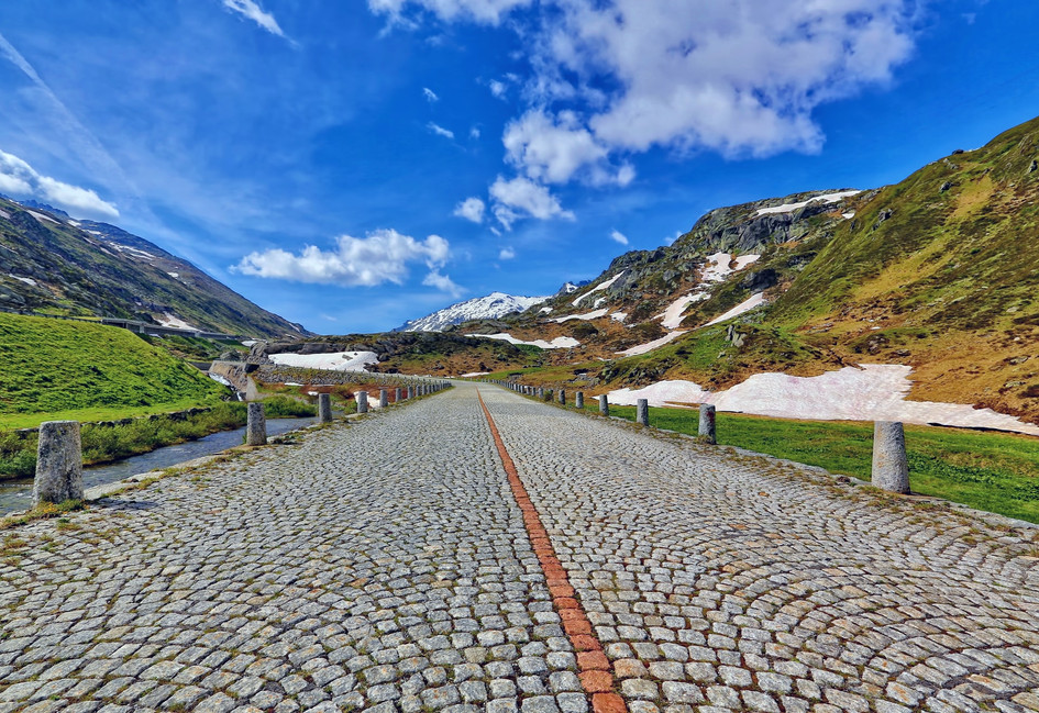 cobblestone on old gotthard pass
