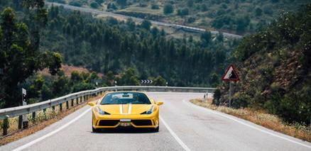 Yellow Ferrari in Tuscany