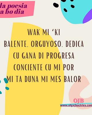 Wak mi 'ki Balente, orguyoso, dedica Cu