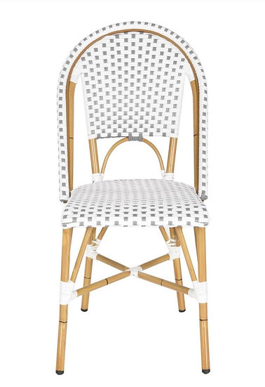 Set of 2 Salcha Grey/White Stackable Aluminum/Wicker Outdoor Dining Chair