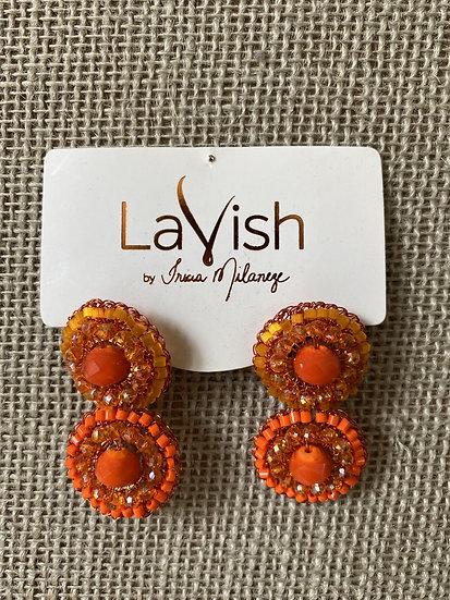 Orange Small Crochet Earring