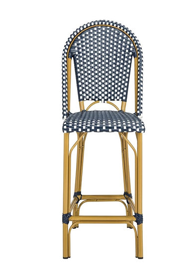 Gresley Navy/White Wicker Outdoor Bar Stool