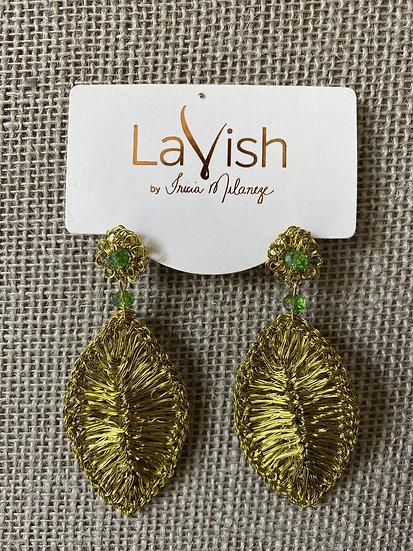 Green Leaf Crochet Earrings