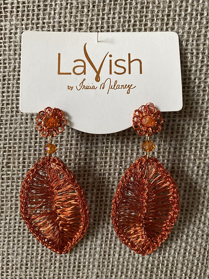 Orange Leaf Crochet Earring