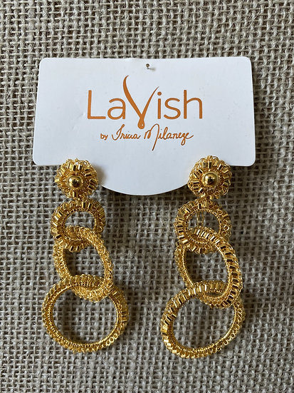 Gold Hand Crocheted Interlocked Earring