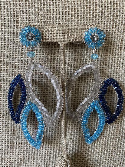 Blue Hand Crochet Earring