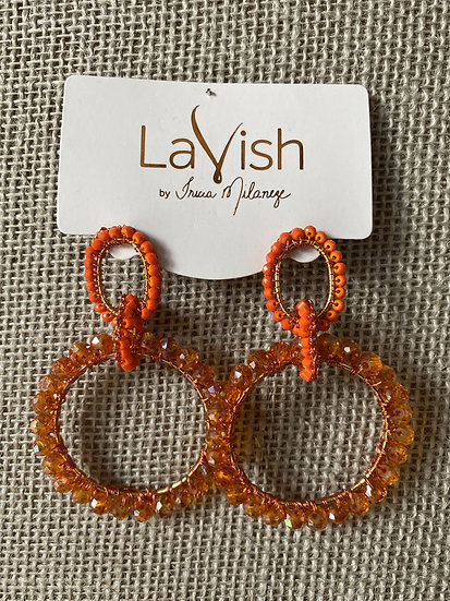 Orange Hand Crochet Interlocked Earring