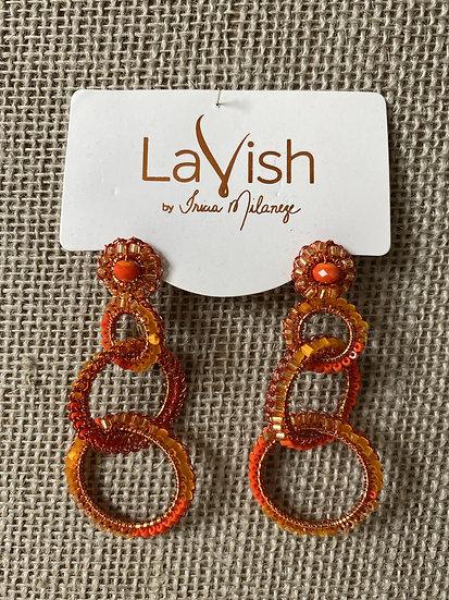 St Tropez Orange  Hand Crochet Interlocked Earring